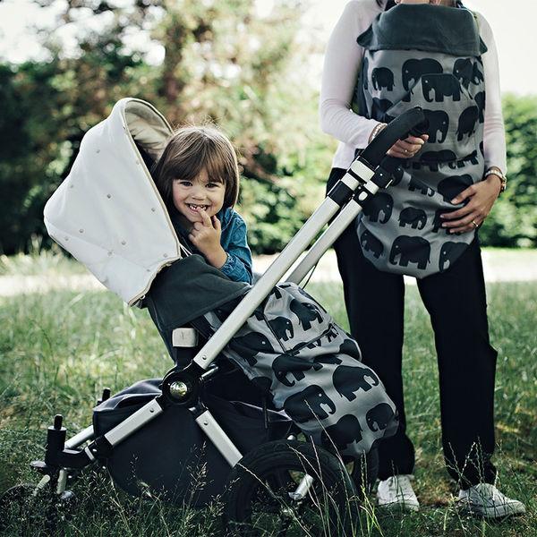 Funda para todo tipo de portabeb/és Dise/ño de elefantes Con forro polar BundleBean BabyWearing Gris